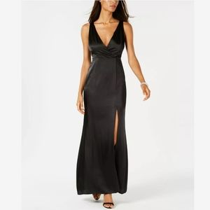 Adrianna Papell Sexy Black Sleeveless Slit Gown 18